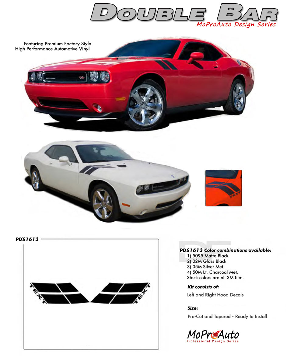 2008-2018 DOUBLE BAR HASH STRIPES Dodge Challenger Vinyl Graphics, Stripes and Decals Set