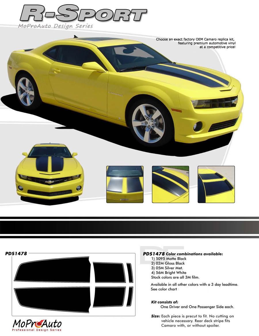 2010 2011 2012 2013 R-SPORT Chevy Camaro RALLY SPORT OEM STYLE Vinyl Graphics, Stripes and Decals Set