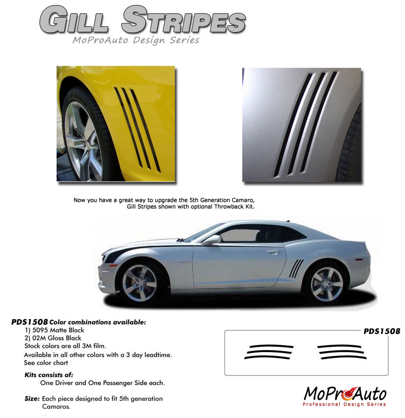 Chevy Camaro GILL STRIPES Vinyl Graphics, Stripes and Decals Set by MoProAuto