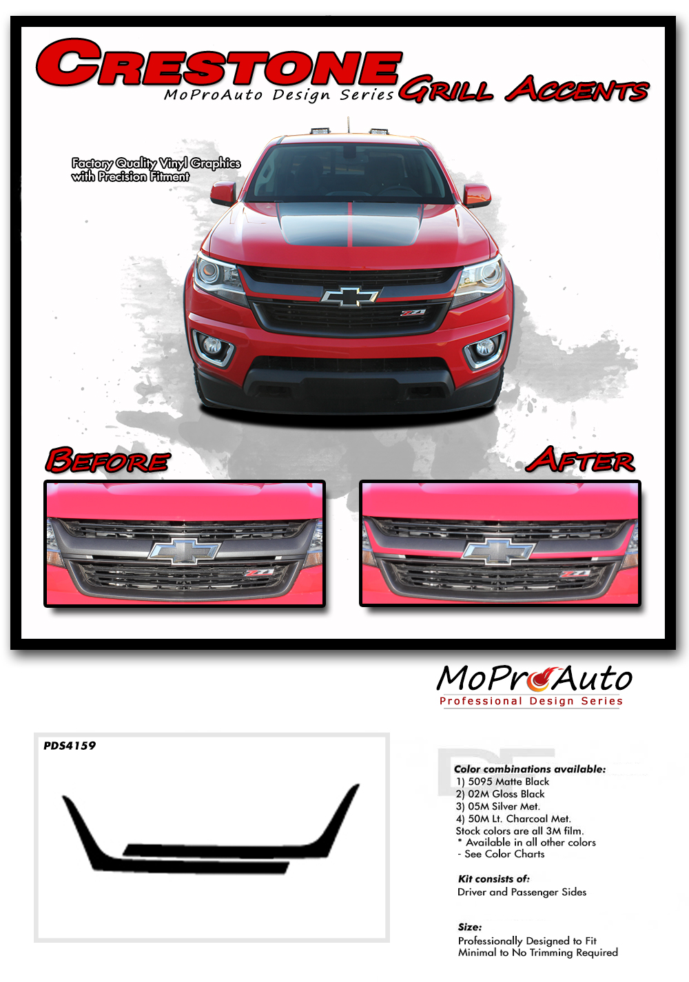 CRESTONE CHEVY COLORADO - MoProAuto Pro Design Series Vinyl Graphics, Stripes and Decals Kit