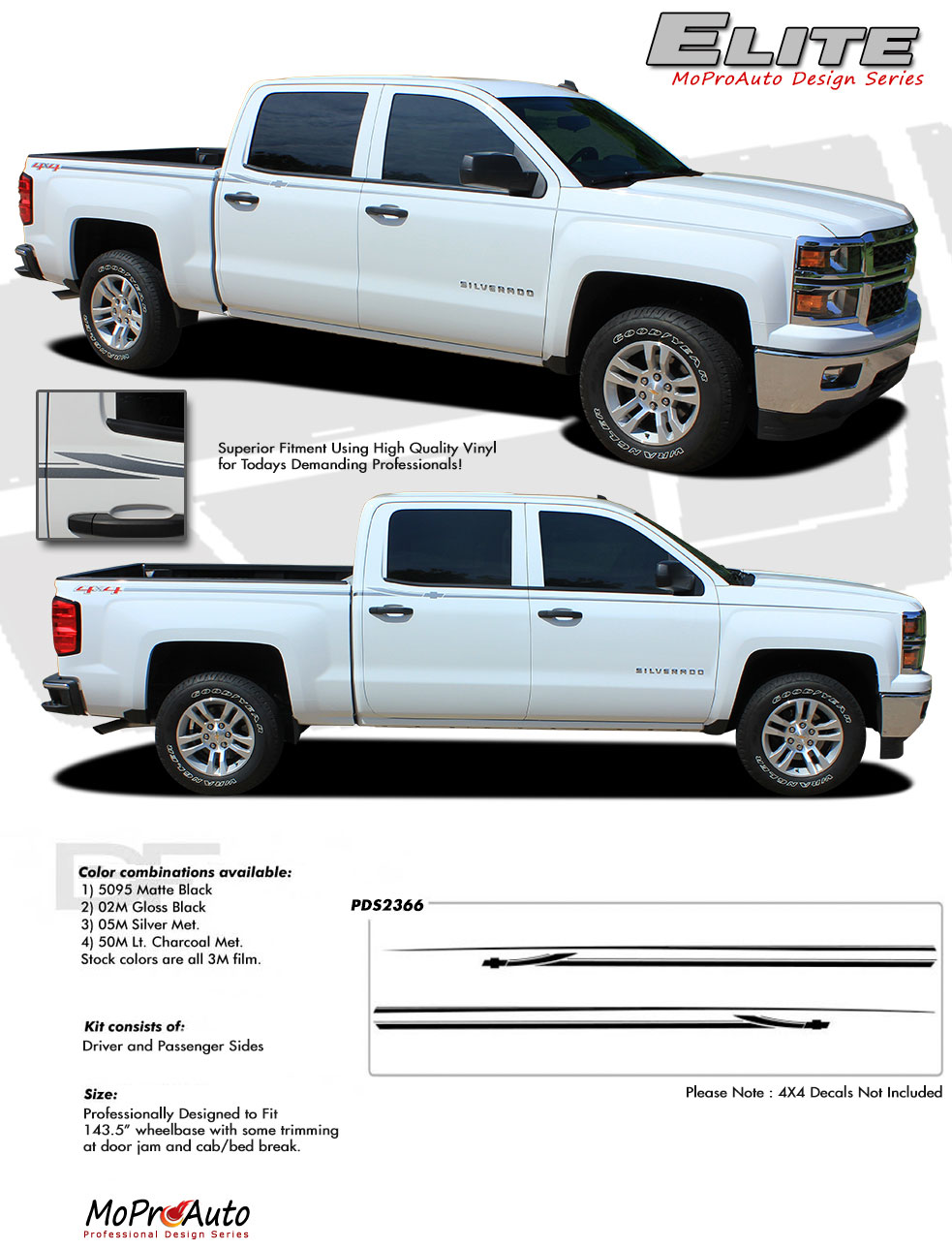 2014-2015 2016 2017 2018 Chevy Silverado  GMC Sierra - MoProAuto Pro Design Series Vinyl Graphics, Stripes and Decals Kit