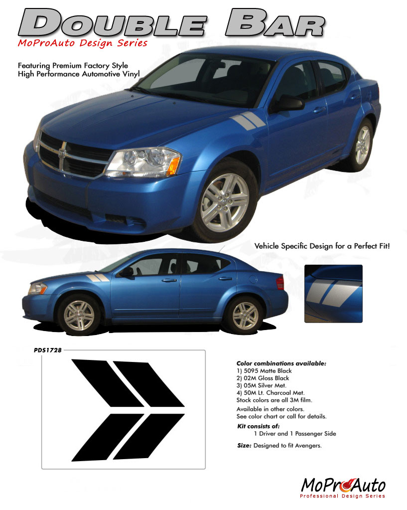Dodge Avenger Double Bar Hood Hash Vinyl Graphics, Stripes and Decals Set