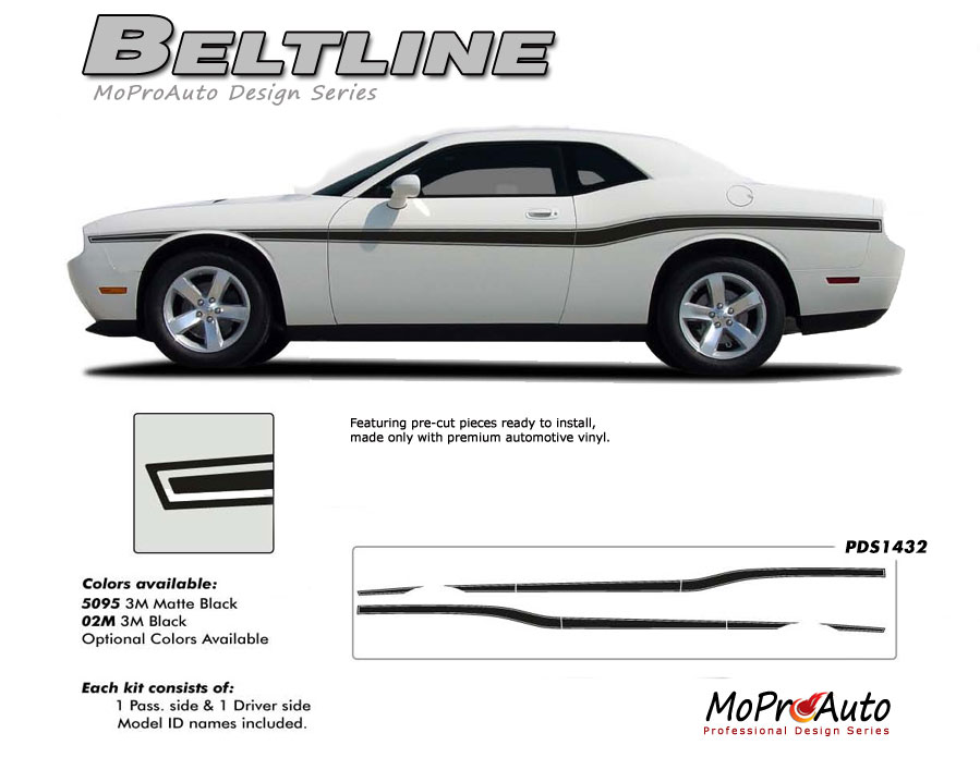 2008-2018 Dodge Challenger BELTLINE Vinyl Graphics, Stripes and Decals Set