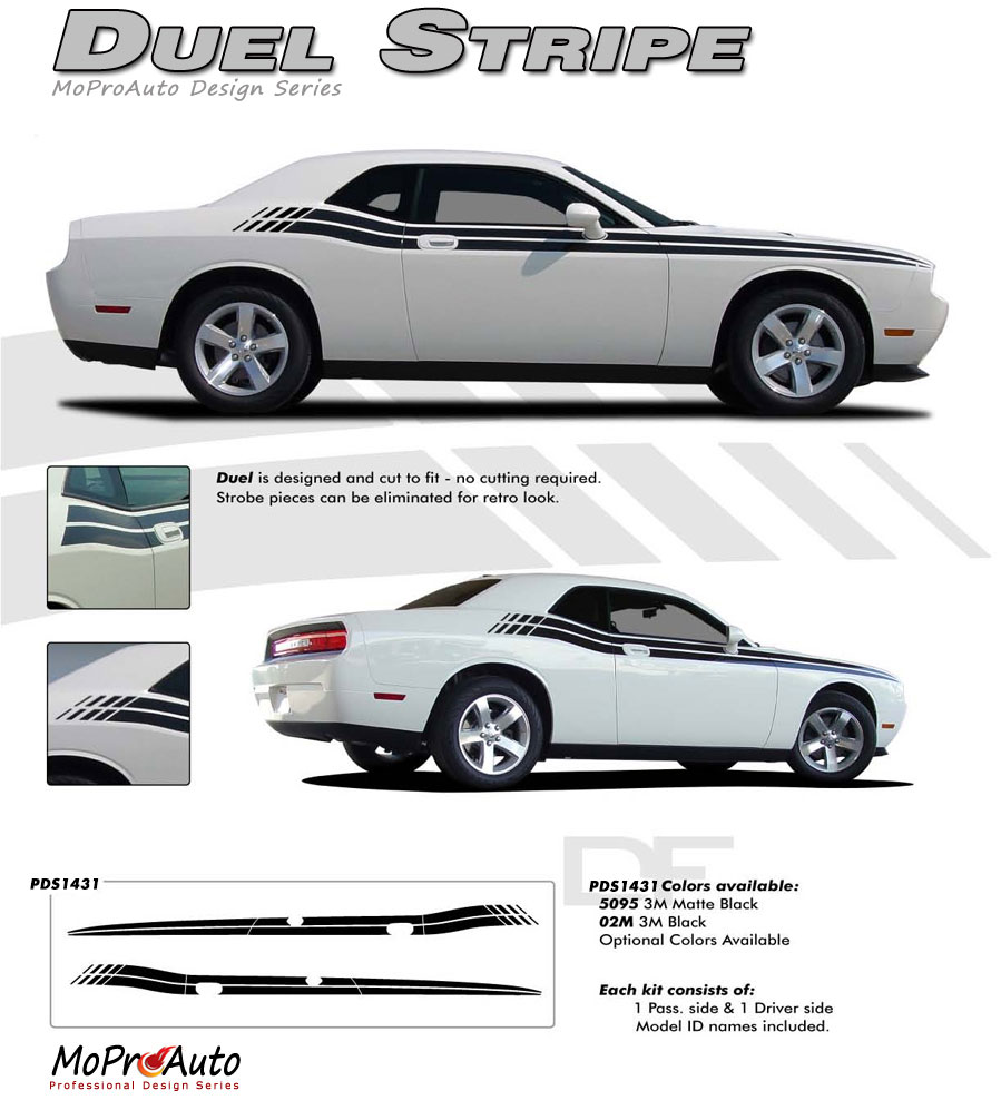 2008, 2009, 2010, 2011, 2012, 2013, 2014, 2015, 2016, 2017, 2018, 2019, 2020 Dodge Challenger DUAL Vinyl Graphics, Stripes and Decals Set