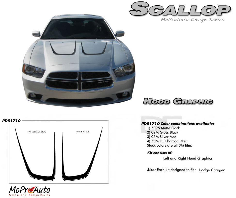 Dodge Charger HOOD SCALLOP Vinyl Graphics, Stripes and Decals Set