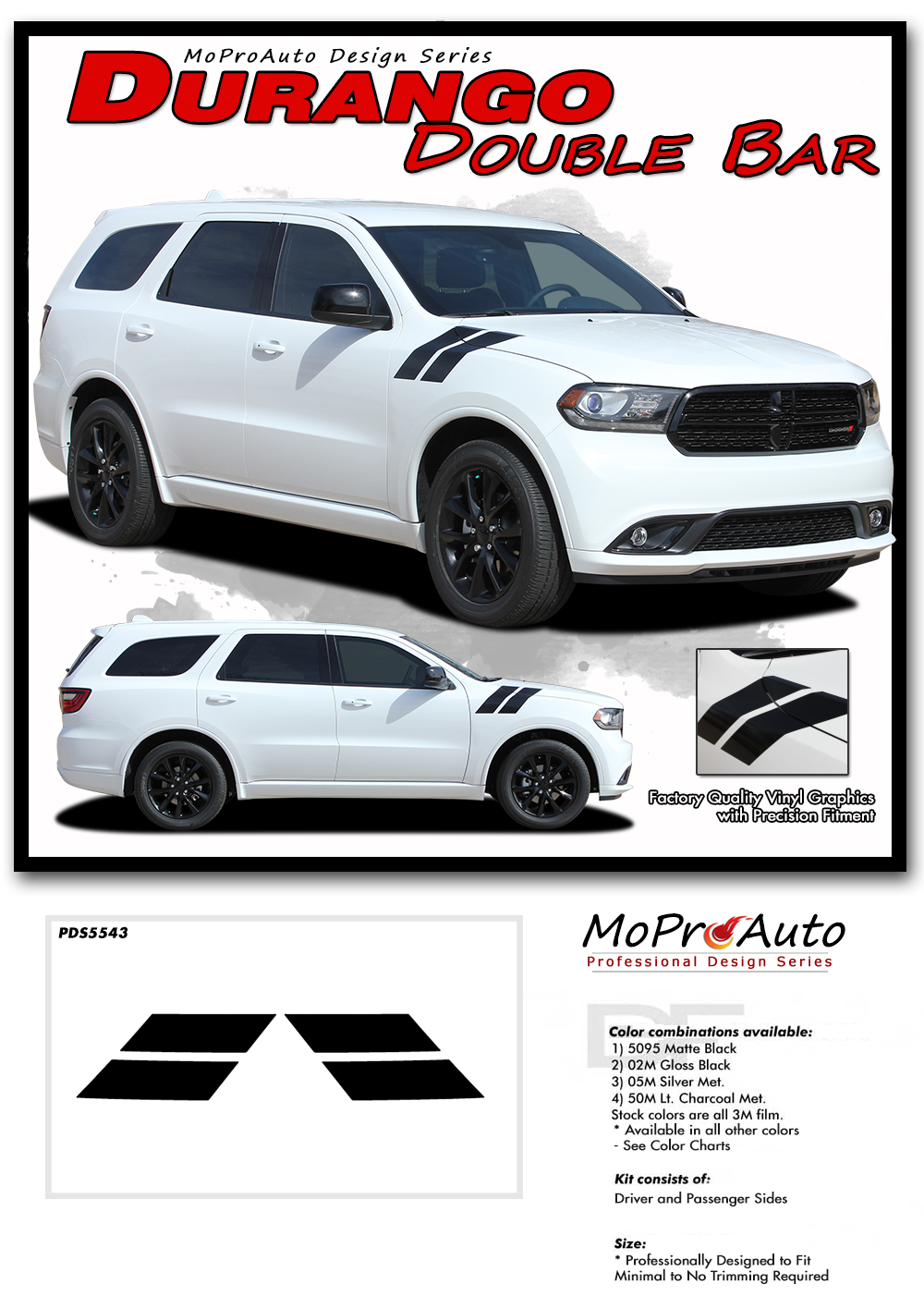 DODGE DURANGO DOUBLE BAR HASH HOOD MARKS - MoProAuto Pro Design Series Vinyl Graphics and Decals Kit