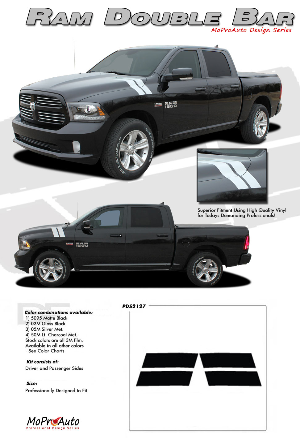 DODGE RAM DOUBLE BAR HASH HOOD MARKS - MoProAuto Pro Design Series Vinyl Graphics and Decals Kit