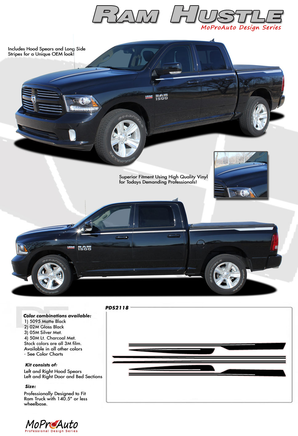 DODGE RAM HUSTLE OEM FACTORY STYLE MoProAuto Pro Design Series Vinyl Graphics and Decals Kit