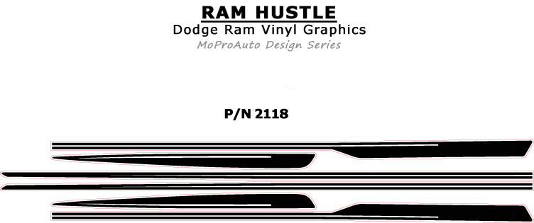 RAM HUSTLE : 2009 2010 2011 2012 2013 2014 2015 2016 2017 2018 Dodge Ram Hood Spears and Side Stripes Vinyl Graphics Kit MoProAuto Pro Design Series