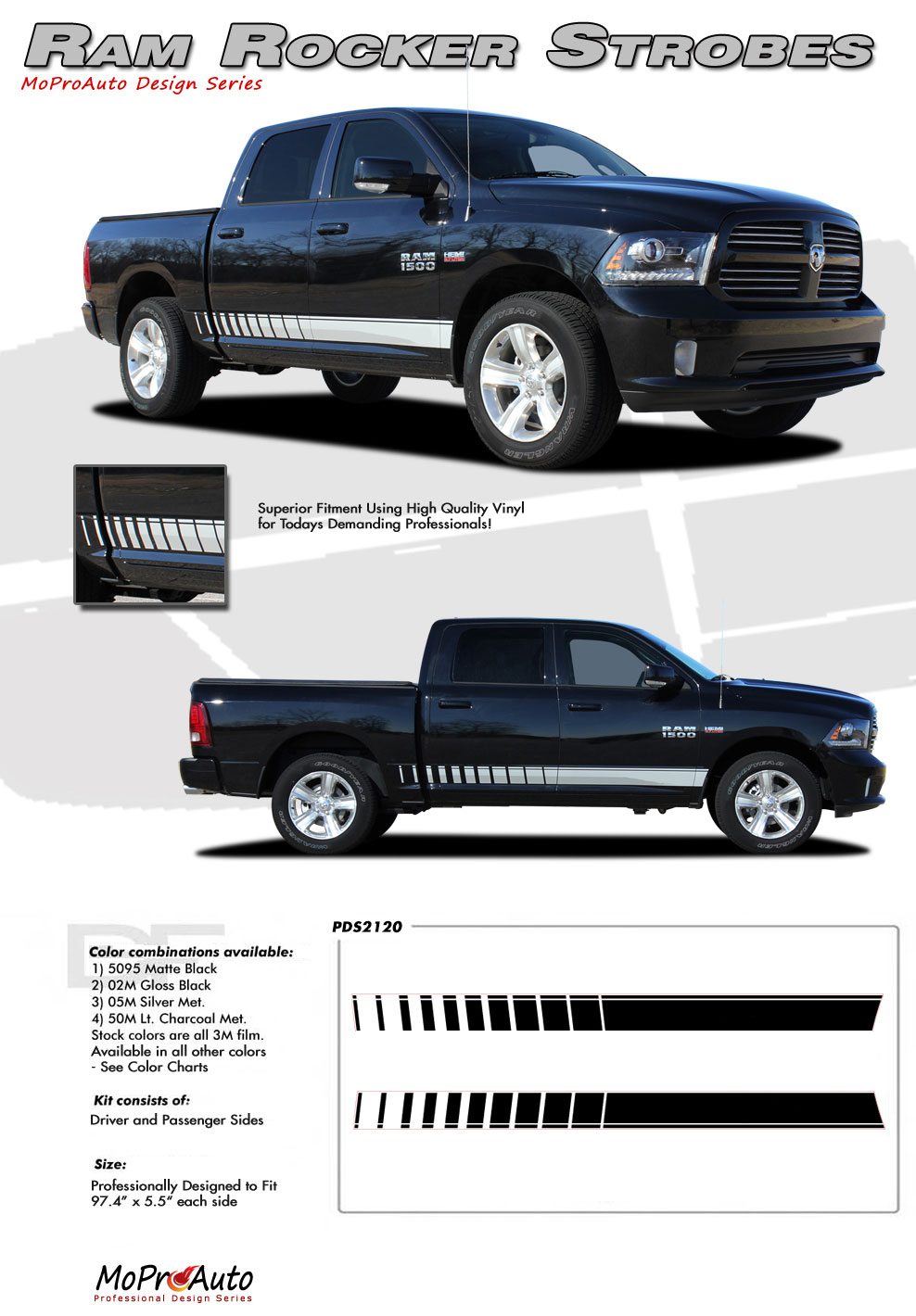 DODGE RAM LOWER ROCKER PANEL STRIPE OEM FACTORY STYLE MoProAuto Pro Design Series Vinyl Graphics and Decals Kit