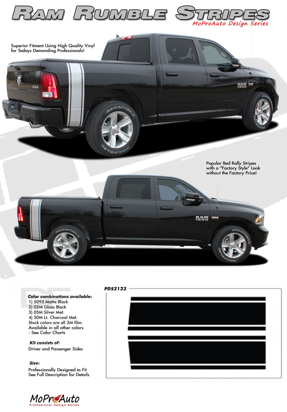 DODGE RAM RUMBLE BED STRIPES OEM FACTORY MOPAR STYLE MoProAuto Pro Design Series Vinyl Graphics and Decals Kit