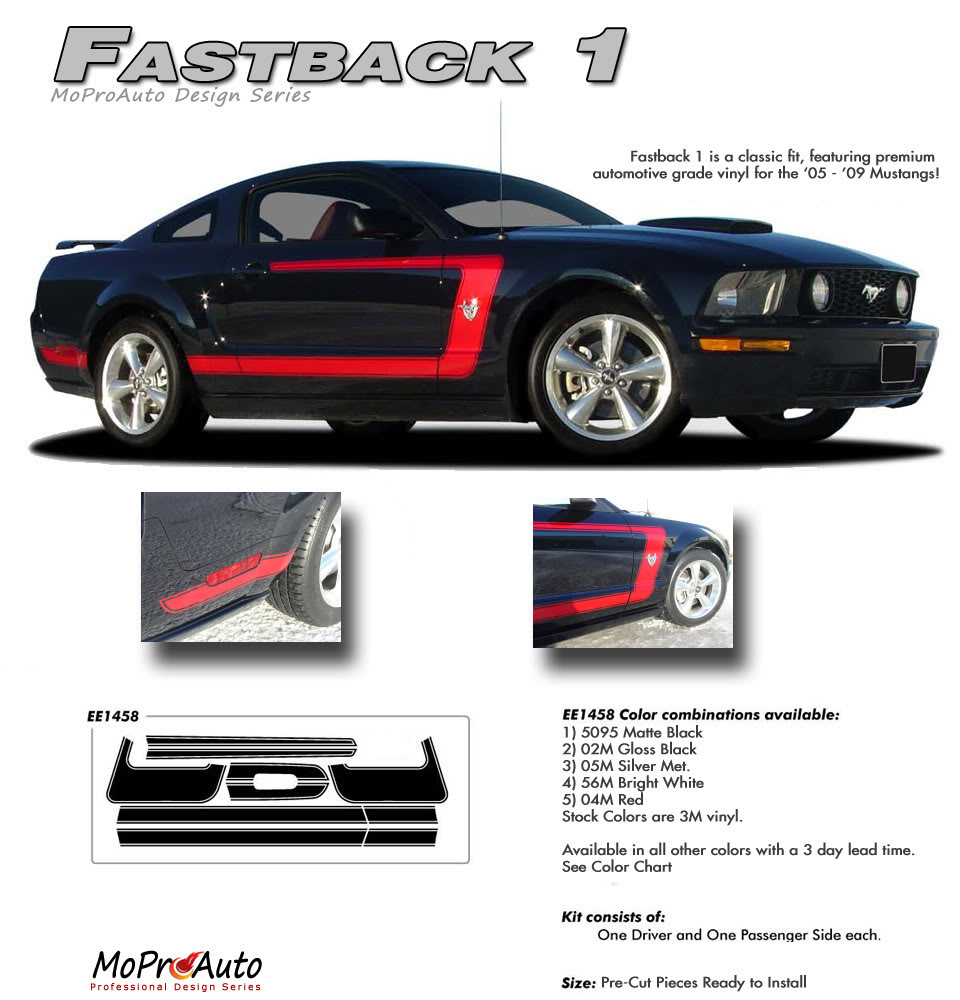 FASTBACK 1 Ford Mustang Stripes - MoProAuto Pro Design Series Vinyl Graphics and Decals Kit