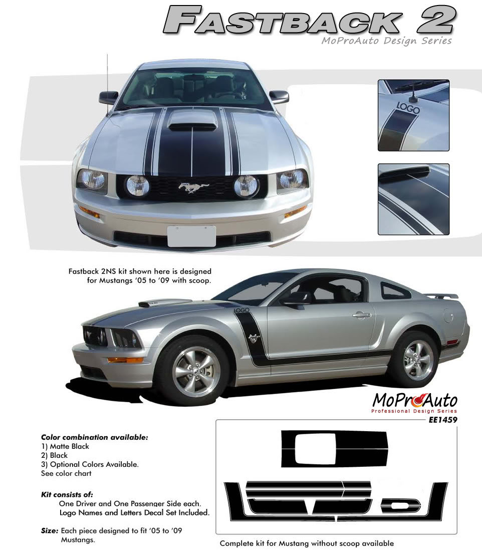 BOSS STYLE FASTBACK 2 Ford Mustang - MoProAuto Pro Design Series Vinyl Graphics, Stripes and Decals Kit
