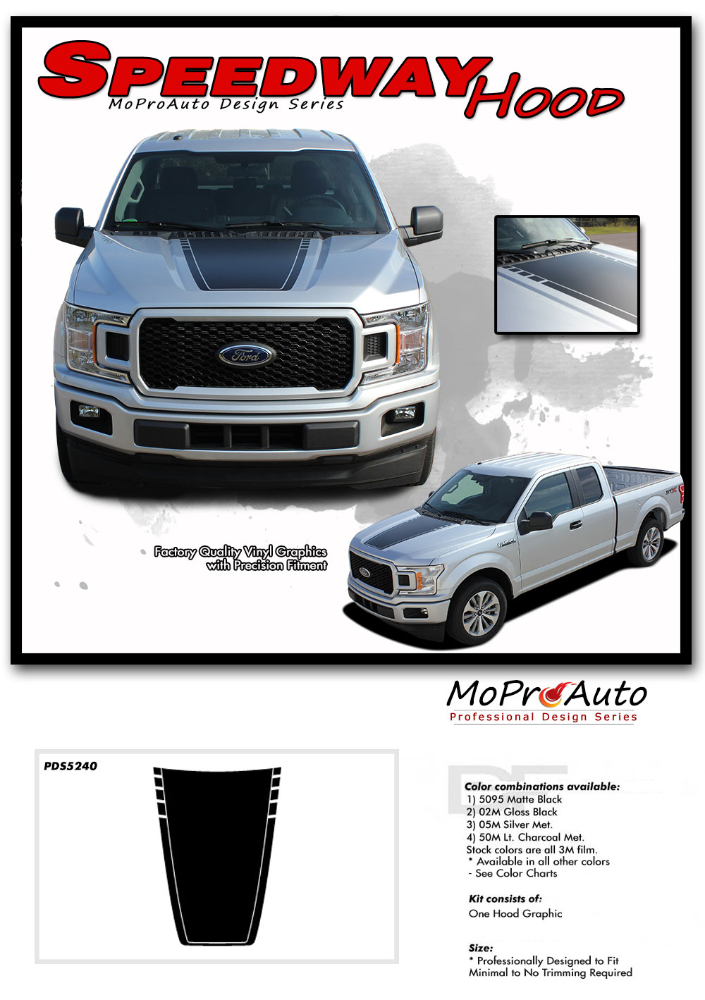 2015-2018 SPEEDWAY HOOD Solid Ford F-Series F-150 Appearance Package Vinyl Graphics and Decals Kit by MoProAuto Pro Design Series