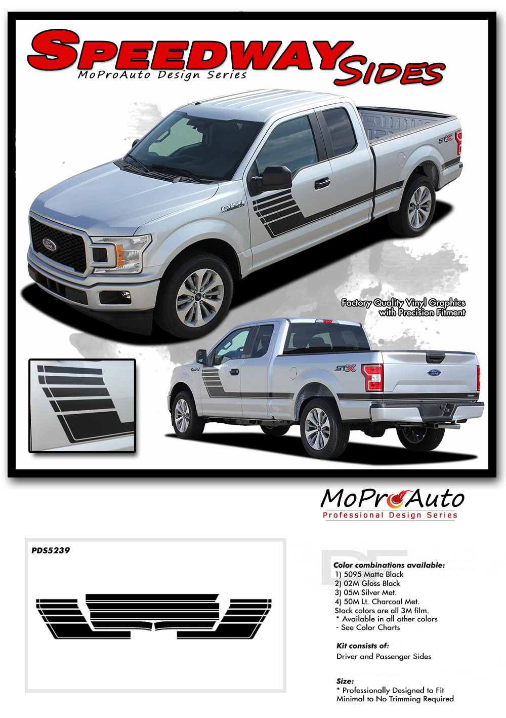 SPEEDWAY Special Edition 2015 2016 2017 2018 Ford F-Series F-150 Hockey Stick Appearance Package Vinyl Graphics and Decals Kit by MoProAuto Pro Design Series