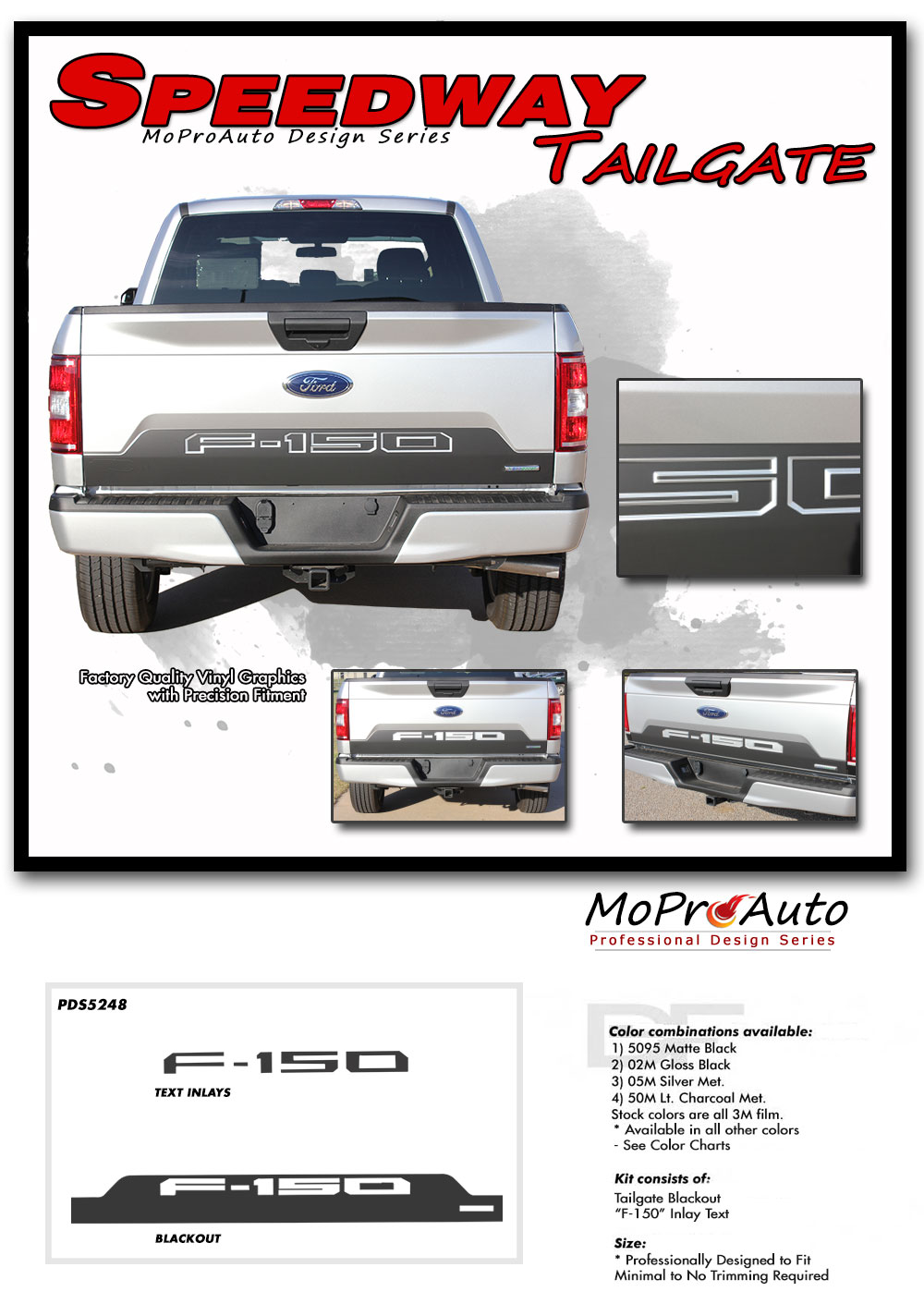 2018 SPEEDWAY TAILGATE and TEXT INLAYS Solid Ford F-Series F-150 Appearance Package Vinyl Graphics and Decals Kit by MoProAuto Pro Design Series