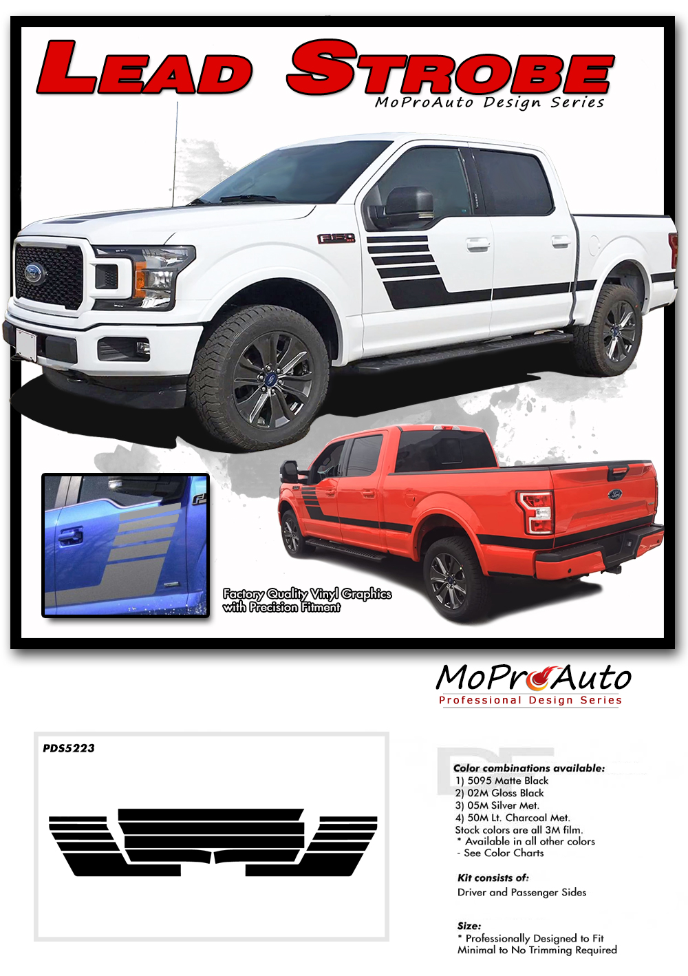 LEAD FOOT STROBE Special Edition 2015 2016 2017 2018 Ford F-Series F-150 Hockey Stick Appearance Package Vinyl Graphics and Decals Kit by MoProAuto Pro Design Series