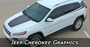 Jeep Cherokee Stripes, Jeep Cherokee Decals, Trailhawk Graphics, Cherokee Hood Decals, and Body Stripe Kits