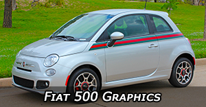 Fiat 500 Stripes, Fiat 500 Vinyl Graphics, Fiat 500 Hood Decals and Body Striping Kits