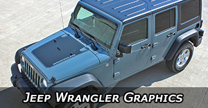 Jeep Wrangler Vinyl Graphics, Wrangler Hood Decals and Wrangler Body Striping Kits