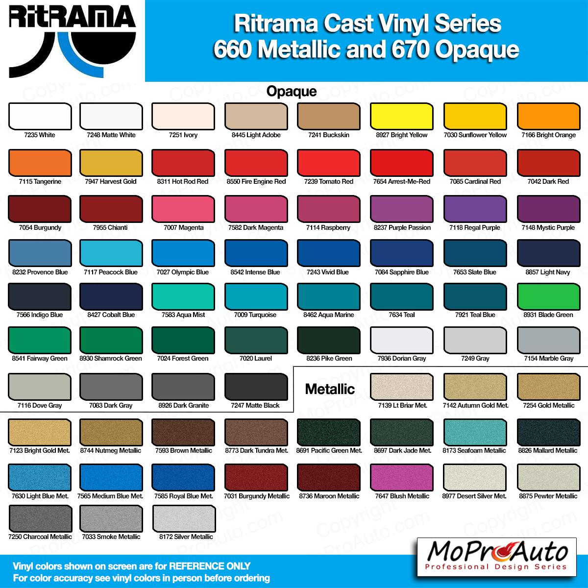 Cast Color Choices : Color chart m avery ritrama vinyl colors