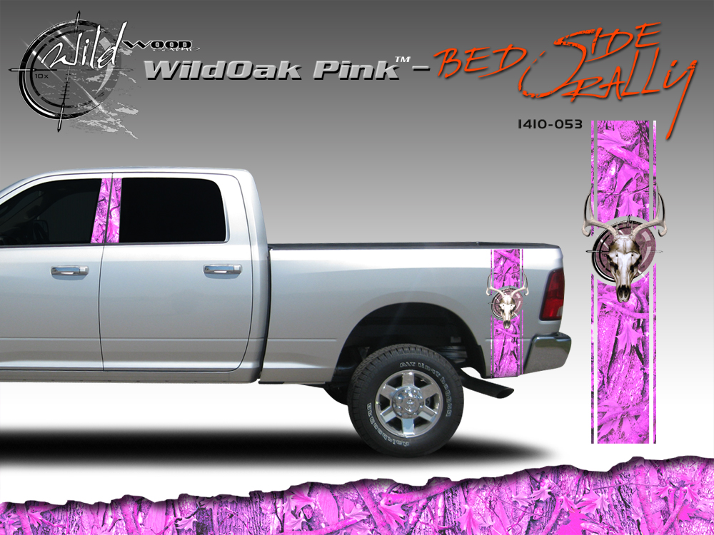 Wild Oak Pink Wild Wood Camouflage Bed Side Rally With Deer Skull 12 Inches X 42 Inches