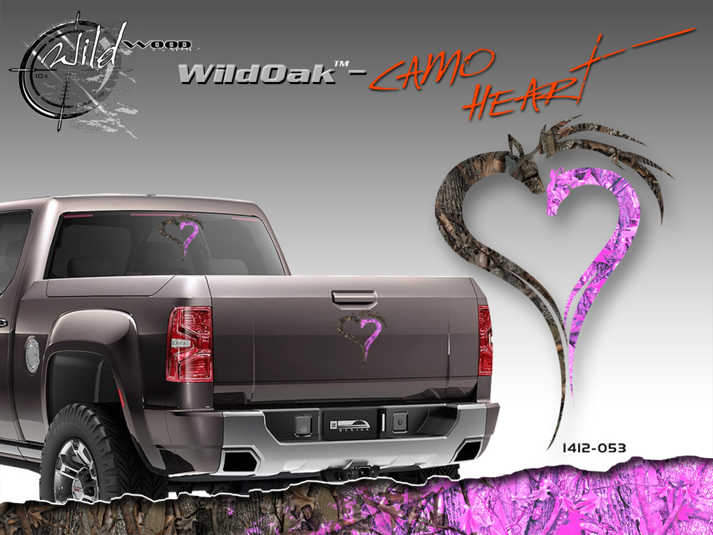 Wild Wood Camouflage Pink Heart Camo Vinyl Graphic Decal