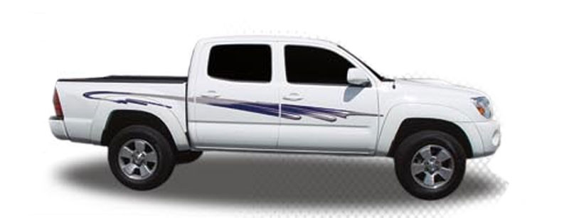 Tsunami automotive vinyl graphics and decals kit shown on chevy silverado and toyota tacoma