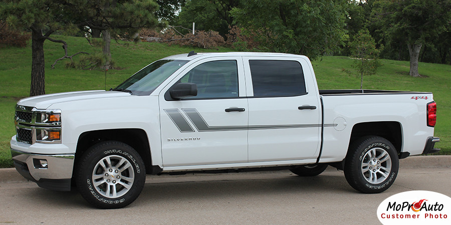 Track xl chevy silverado or gmc sierra vinyl graphic decal stripe kit customer photos