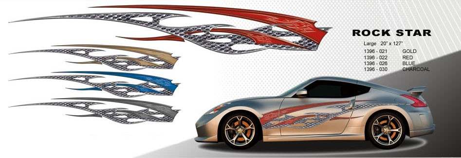 Superior ... ROCK STAR : Automotive Vinyl Graphics And Decals Kit   Shown On TWO  DOOR SPORTS CAR ...