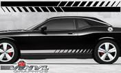 Dodge Challenger : Strobe Fader Rocker Panel Stripes fits 2008-2013 Models (SVS310D)