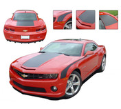 """Camaro SINGLE STRIPE : 2010 2011 2012 2013 Chevy Camaro Factory OEM Style WIDE SINGLE STRIPE Rally Stripes Kit - 2010-2013 Chevy Camaro SINGLE STRIPE - Wide Racing Rally Stripe Graphics Kit! Engineered specifically for the new Camaro, this kit will give you a factory OEM upgrade look at a discount price! Wide Hood, Trunk and and FREE Side """"Throwback"""" Stripes included! Pre-Cut pieces ready to install!"""
