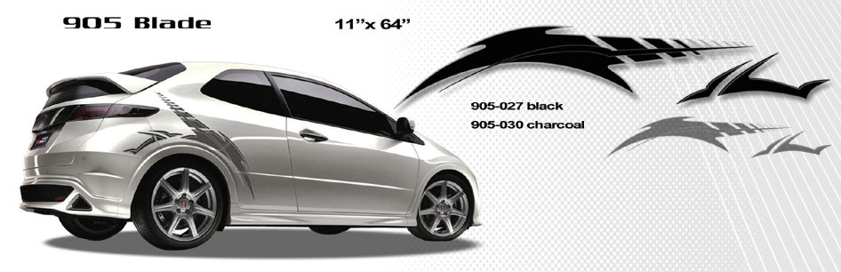 Blade automotive vinyl graphics and decals kit shown on honda civic revolutionary automotive vinyl