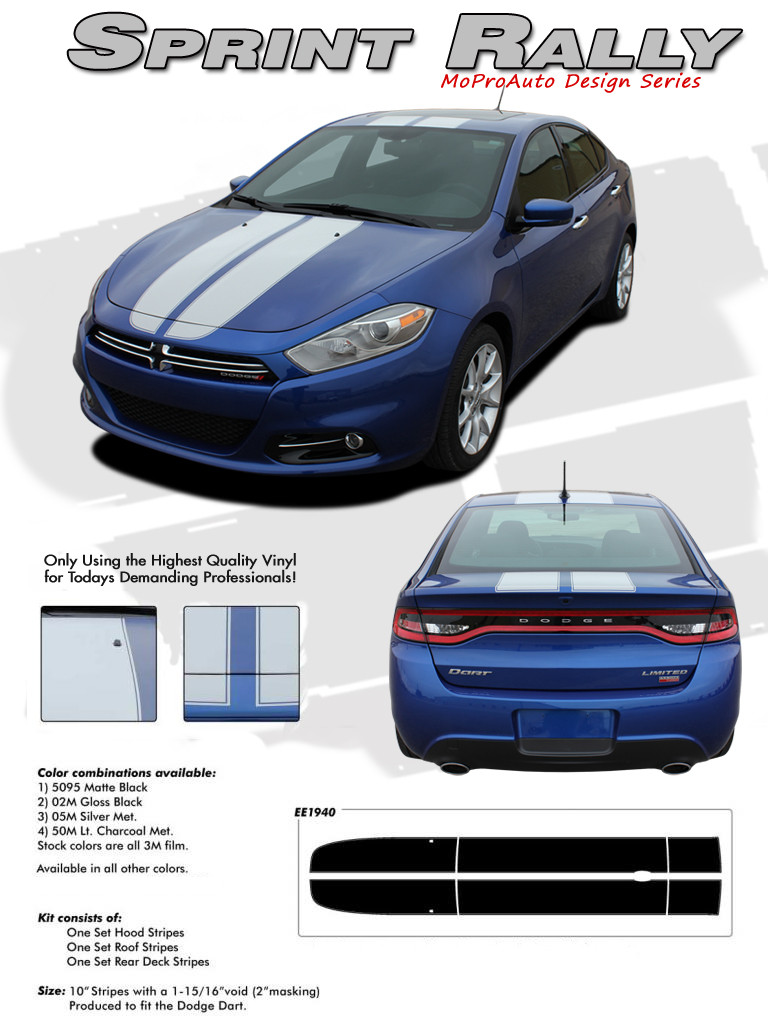 Sprint Rally Hood Roof And Deck Lid Racing Stripes For