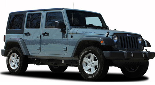 Jeep Wrangler TREK Vinyl Graphics Kit! Engineered specifically for the new Jeep Wrangler, this kit will give you a factory OEM upgrade look at a discount price! Pre-trimmed sections ready to install! Fits Jeep Wrangler Fender to Fender Door Panels . . .