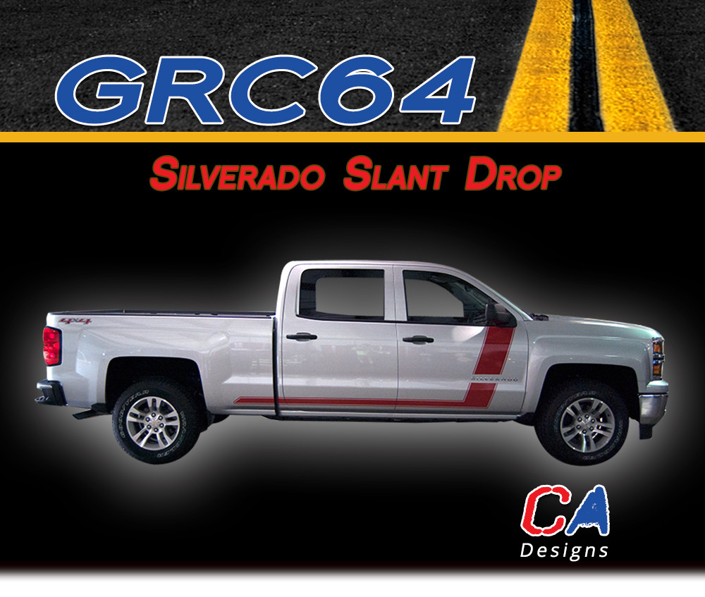 2014 2015 Chevy Silverado Slant Drop Vinyl Graphic Decal Stripe Kit Moproauto Vinyl Graphics