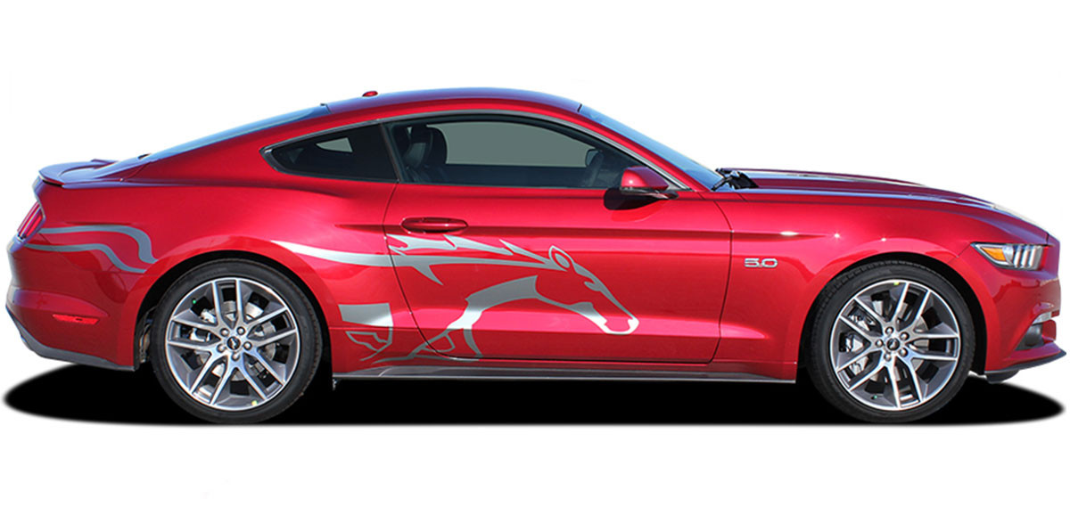 2015 2016 2017 2018 steed ford mustang pony side horse vinyl graphic stripe decals