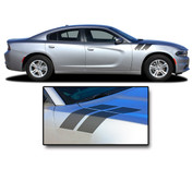 2015 2016 2017 2018 RECHARGE DOUBLE BAR 2 : Hood to Fender Hash Marks Vinyl Graphic, Decals, and Stripe Kit for Dodge Charger (PDS3317)