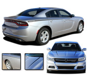 2015 2016 2017 2018 RIVE : Hood Spikes and Rear Quarter Panel Sides Vinyl Graphic, Decals, and Stripe Kit for Dodge Charger (PDS3315)