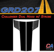 2011-2014 Dodge Challenger Dual Hood w/ Strobe Vinyl Stripe Kit (M-GRD207)