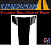 2011-2014 Dodge Challenger Single Hood w/ Strobe Vinyl Stripe Kit (M-GRD208)