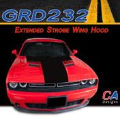 2015-2018 Dodge Challenger Extended Strobe Wing Center Hood Vinyl Stripe Kit (M-GRD232)