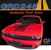 2015-2018 Dodge Challenger Aggressive Hood Vinyl Stripe Kit (M-GRD248)