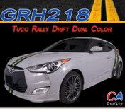 2011-2015 Hyundai Veloster Tuco Rally Drift Dual Color Vinyl Stripe Kit (M-GRH218)