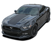 MEGA HOOD : 2015 2016 2017 Ford Mustang Wide Center Hood Racing and Rally Stripes Vinyl Graphics Kit (PDS3598)