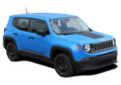 2014-2018 RENEGADE HOOD : Jeep Renegade Hood Trailhawk Style Vinyl Graphics Decal Stripe Kit (M-PDS3671)