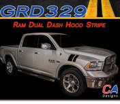 2009-2015 Dodge Ram Dual Dash Hood Stripe Vinyl Striping Graphic Kit (M-GRD329)