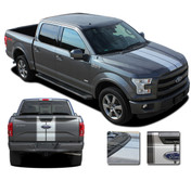 F-150 F-RALLY : Ford F-150 Split Center Racing Stripes Vinyl Graphics and Decals Kit for 2015-2017 2018 Models (M-PDS3822)