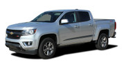RANTON : 2015 2016 2017 2018 Chevy Colorado Lower Rocker Panel Accent Vinyl Graphic Package Factory OEM Style Decal Stripe Kit (M-PDS-4153)