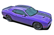 Challenger PULSE RALLY : Strobe Style Hood to Trunk Vinyl Graphic Racing Rally Stripes for 2008 2009 2010 2011 2012 2013 2014 2015 2016 2017 2018 Dodge Challenger (M-PDS4250)